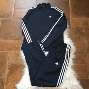 Adidas men's navy tracksuit pants & pullover set M